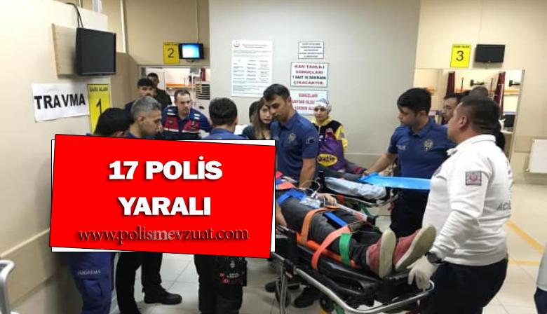 17 Polis Yaralı; Sınır Dışı Edilecek Yolcuları Taşıyan Otobüs Devrildi